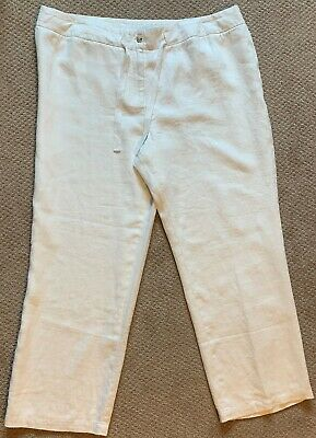 Charter Club Woman Linen Drawstring-Waist Pants White Sz 22W Wide Leg Lined NWT