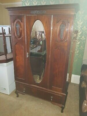 Matching Antique wardrobe with mirror, mirrored dresser and marble top sideboard