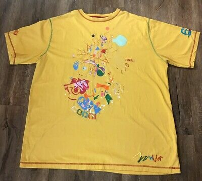 VTG 90s COOGI Ltd Edition Embroidered Spell Out Logo Yellow T Shirt Mens 4XL
