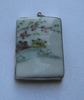 Antique  Chinese Porcelain Tile with Sterling Silver mount Pendant