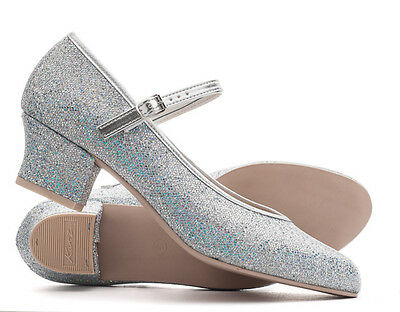 """Ladies Silver Glitter Character Stage Showtime Dance Shoes 1.5"""" Heel By Katz"""