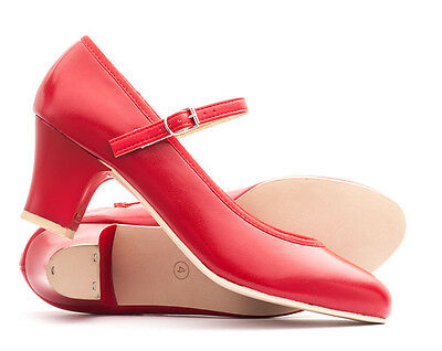 """Ladies Red PU Character Stage Showtime Dance Shoes All Sizes 2"""" Heel By Katz"""