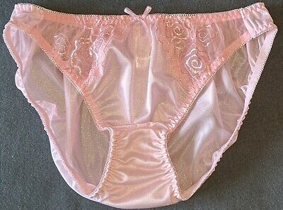 NWOT Baby Pink Nylon & Floral Embroidery Lace Japanese Bikini Panties 7/L