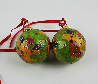 Laurel Burch Round Metal and Enamel Painted Green Christmas Ornaments w/ Cats