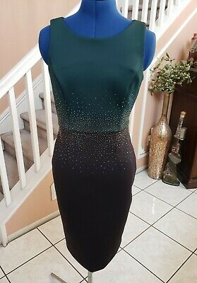 CALVIN KLEIN Black Green Gold Beaded Sleeveless Sheath Dress Sz 2 - BEAUTIFUL!