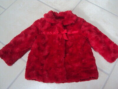 George At Asda Girls Red Furry Coat, Size 12-18 Months