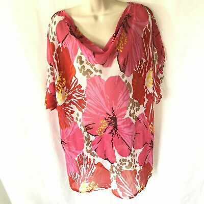 Fashion Bug Womens Top Flower Plus Size 2X Crinkle Batwing Sheer Overlay
