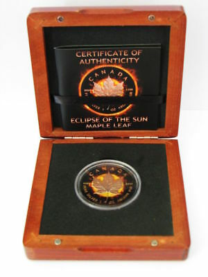 MAPLE LEAF Eclipse Of The Sun 1 Oz Silver Coin 5$ Canada 2016