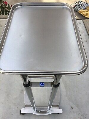 Lot of TWO Pedigo Stainless steel foot operated medical trays Mayo Stand