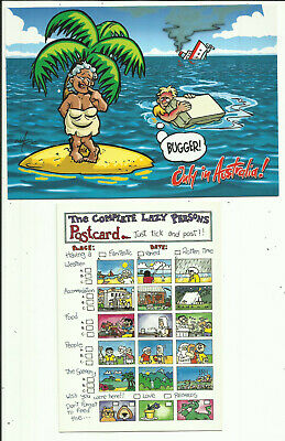 "Two Humorous Australia Postcards - ""Lazy Persons Postcard"" & ""Bugger"", Shipwreck"