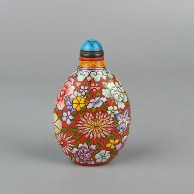 Chinese Exquisite Handmade flower Glass Snuff Bottle