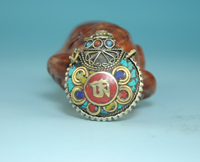 collect Old Tibet HandMade Cupronickel Inlay Turquoise Snuff Bottle Statue ca02E