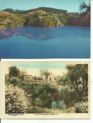 Two Australia Postcards - Mt. Gambier, South Australia - Cave Garden & Lake