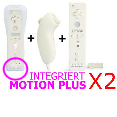 2x 2in1 MOTION PLUS CONTROLLER REMOTE MANDO NUNCHUK H?LLE F?R WII KONSOLE Wei?