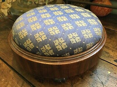 Antique Vintage English Victorian Late 1800's Foot Stool Blue & Cream Fabric