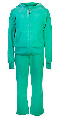 Childrens Girls Velour Tracksuit Hoody Joggers Jade Green Age 3/4