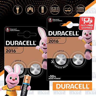 4x DURACELL DL2016 3V LITHIUM COIN Cell Batteries DURALOCK CR2016 BR2016 Exp+
