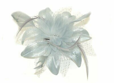 Ladies Silver Grey Wedding Fabric Flower Feather Fascinator Clear Comb