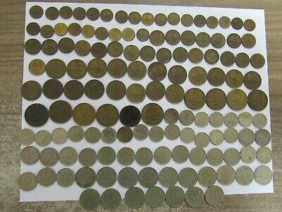 Lot of 135 Different Old Russia USSR Coins - 1954 to 1991 - Circulated
