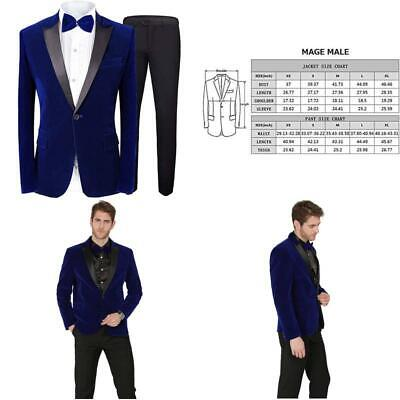 Mage Male Men'S 2 Piece Suit Peaked Lapel One Button Tuxedo Slim Fit Velvet Blaz