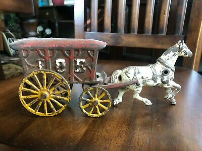ANTIQUE HUBLEY WILKINS CAST IRON HORSE DRAWN ICE WAGON 1920 s Original 10 Inches