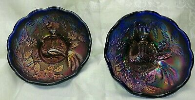 2 Northwood Carnival Glass BLUE Peacock and Urn  Bowl