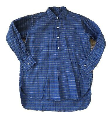 1930s 1940s French Work Shirt Pullover Shirt Blue Checked Cotton