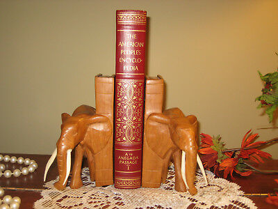FIGURAL ELEPHANT BOOKENDS HAND CARVED WOOD Set of 2 BOOK ENDS