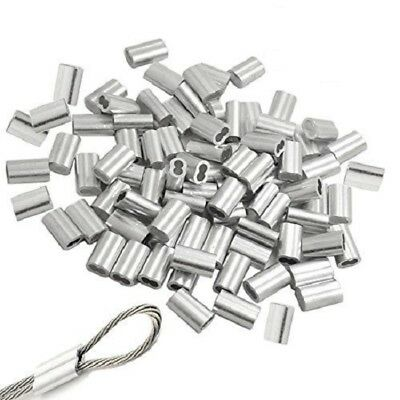 """1/8"""" Aluminum Sleeves Clip Crimps for  Aircraft Cable, Wire Cord 50 pcs"""