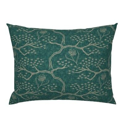 Textured Chinese Tree Pine Asian Orchid Toile Pillow Sham by Roostery