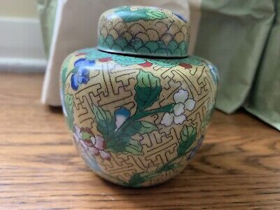 Antique Chinese Cloisonne Yellow Enamel Ginger Jar Marked 4""