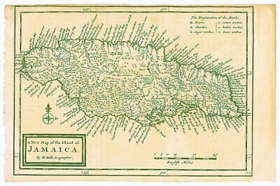 WEST INDIES JAMAICA / A New Map of the Island of Jamaica 1741