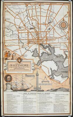 MARYLAND BALTIMORE / Map of Historic Baltimore Showing Main Traffic Routes 1936