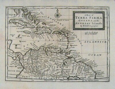 WEST INDIES / Map of Terra Firma Guiana and the Antilles Islands 1745