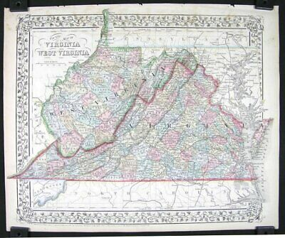 VIRGINIA / WEST VIRGINIA / County Map of Virginia and West Virginia 1869
