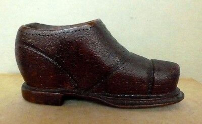 Folk Art Wingtip Men's Shoe Carved Wood Treen Antique Collectible C. 1900-20's