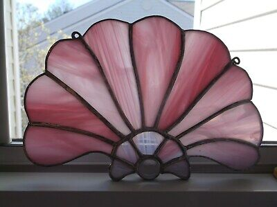 """STAINED GLASS7"""" WidePINKFLOWER Form Window Hanging SUN CATCHER"""