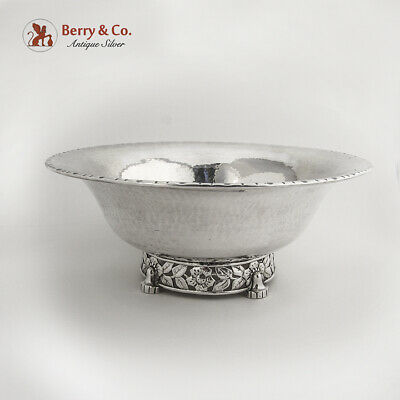 Norwegian Arts And Crafts Bowl Openwork Floral Foot 830 Silver 1930
