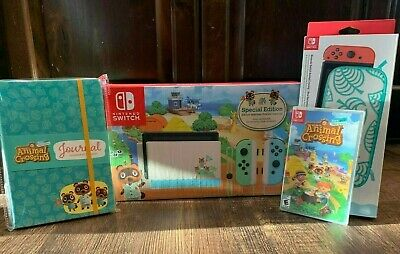 Nintendo Switch - Animal Crossing Console BUNDLE: Game, Journal, Aloha case