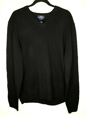 Brooks Brothers 346 V Neck Sweater 100% Scottish Lambs Wool Black Men's Large