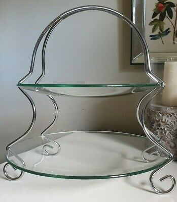 Lovely Silver Look 2 Tier Glass Cake Stand Elegant
