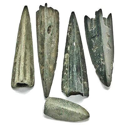 5 Authentic Ancient Roman Or Greek Arrow Heads Spear Point Artifact Europe Old