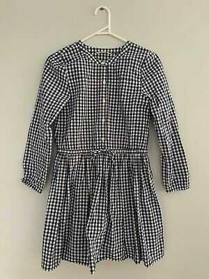Girls Country Road Navy and White Check Dress Size 12