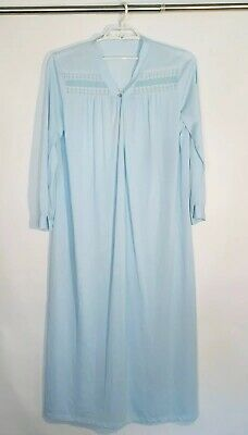 Vintage Lorraine Blue Lace Embroidered Loose Fit Long Nightgown Nylon