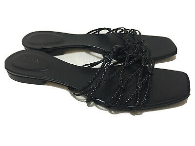 GUCCI - Black Braided leather knotted slides - Sz 8.5B