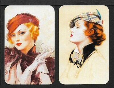 Swap Playing Cards 2 Single Cards. Vintage Style Ladies. Modern Blank Back. MINT