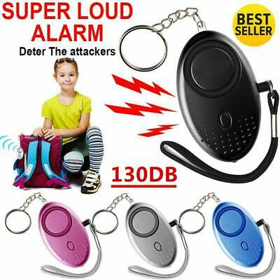 Black 105db Minder Personal Panic Rape Attack Safety Keyring Alarm Torch