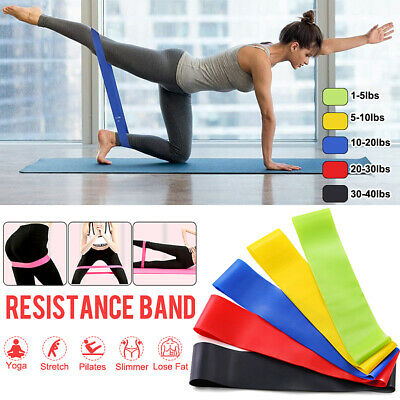 40lbs Resistance Bands 5 Power Strength Exercise Loop Fitness Gym Crossfit Yoga