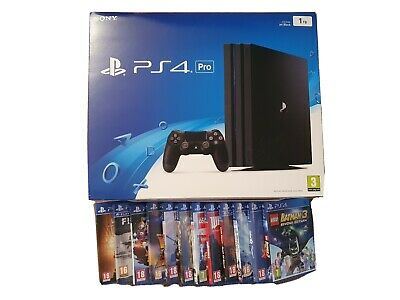 Sony PlayStation 4 Pro 1TB with 12 Games + More - Console - Black (PS4 BUNDLE)