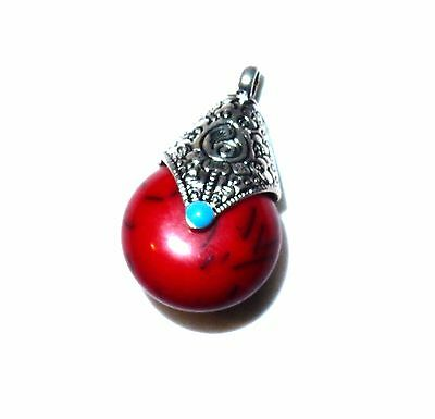 1x38x22mm tibetan silver & red color beeswax pendant necklace save free post